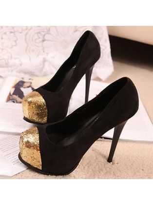 ae2e4974c7a Round Toe Patchwork Suede Stiletto Black   Gold High Heels