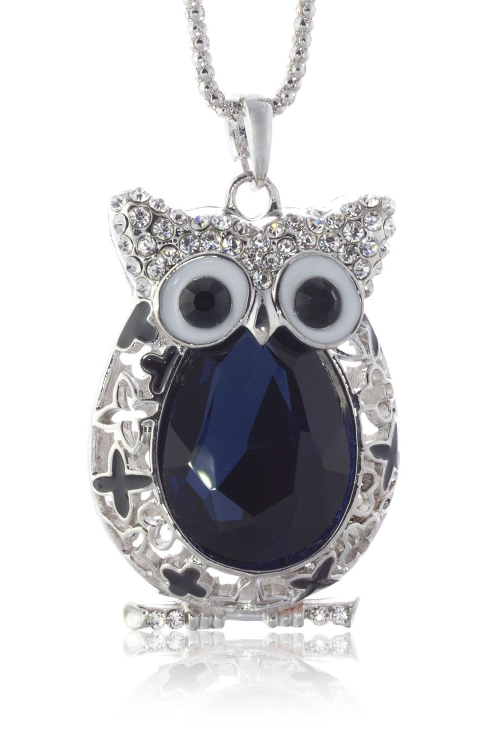 Silver & Co - Clear and Blue Crystal Owl Necklace