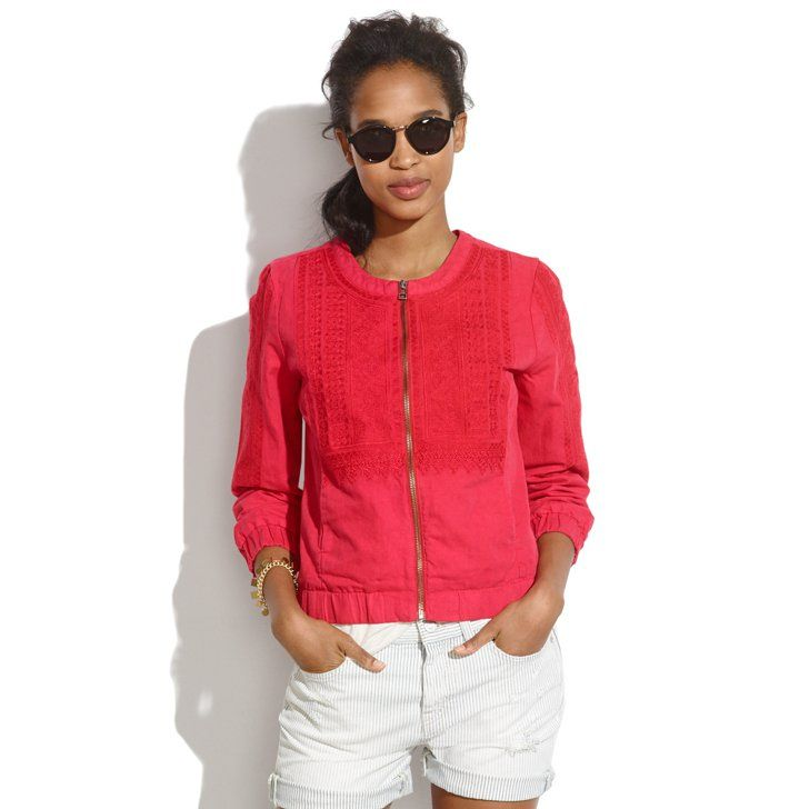 Pin for Later: What Does the Official Madewell Girl Love For Spring? Madewell Spring 2014 Madewell red Folkstitch zip-up bomber jacket ($158)