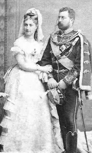 Their Highnesses Prince and Princess Philipp of Saxe-Coburg-Gotha-Kohary. Married: May 4, 1875. Divorced: January 15, 1906