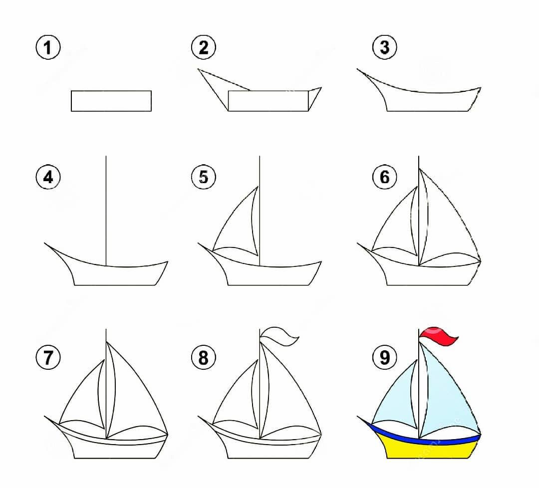 Draw Boats For Kids Boat Drawing Simple Drawing For Kids Boat