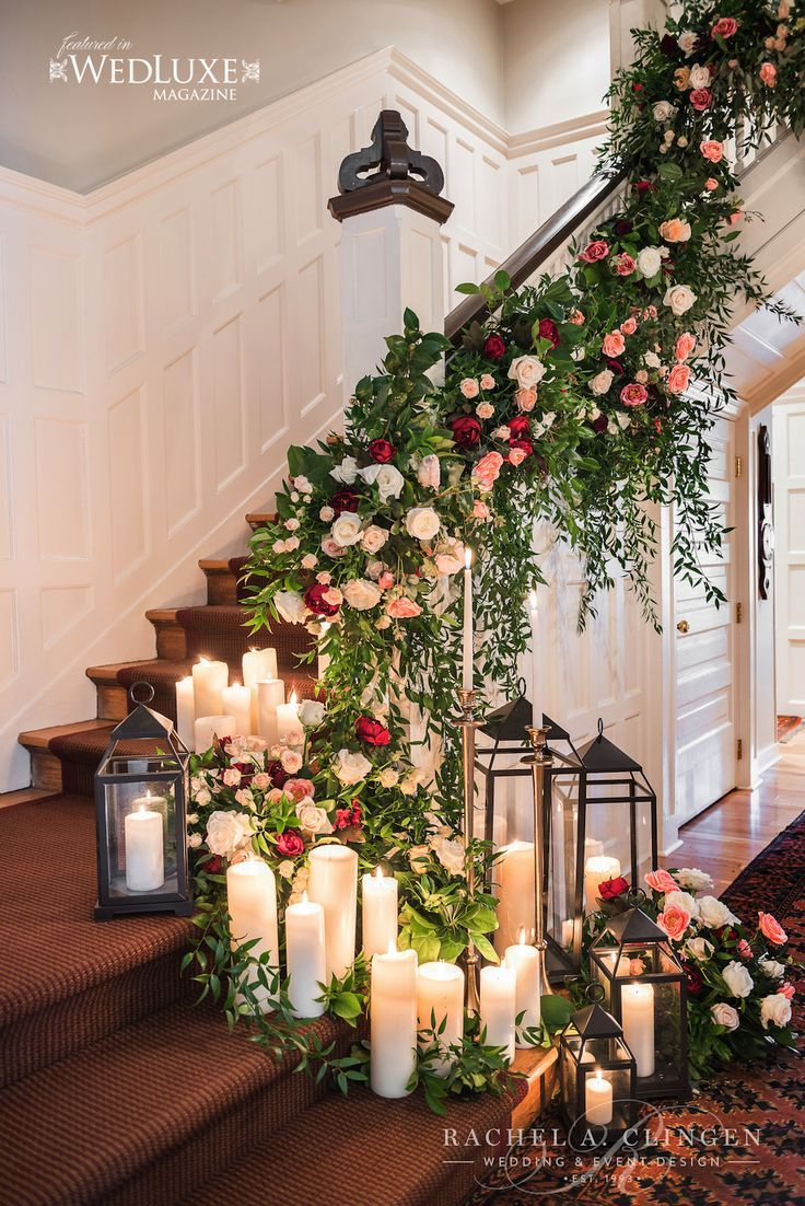Wedding decoration ideas in the house  Staircase floral feature at Langdon Hall by Rachel A Clingen