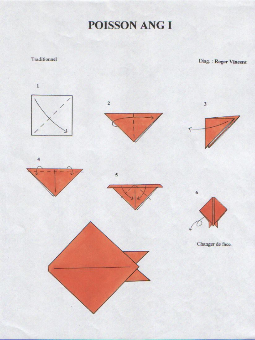 poisson poisson pinterest poissons origami et tr s facile. Black Bedroom Furniture Sets. Home Design Ideas