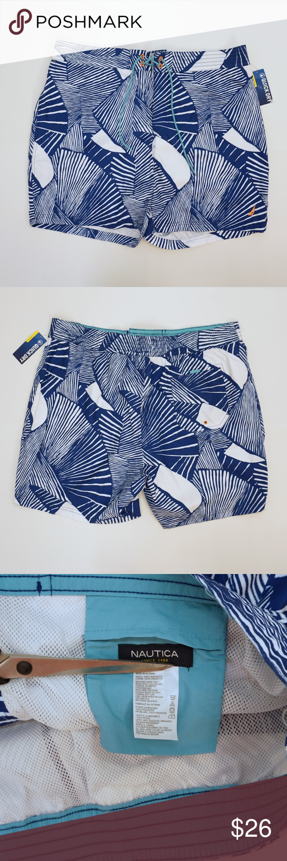 b994731211 Nautica Swim Trunks Shorts with Lining Blue White Nautica Mens Faux  Drawstring (hook and loop fastener) Fly Swim Trunks Shorts with Brief Liner  SIZE: XXL ...