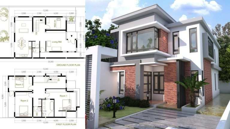 4 Bedroom Modern Home Plan Size 8x12m Sam Phoas Home Courtyard House Plans Modern Courtyard Architectural House Plans
