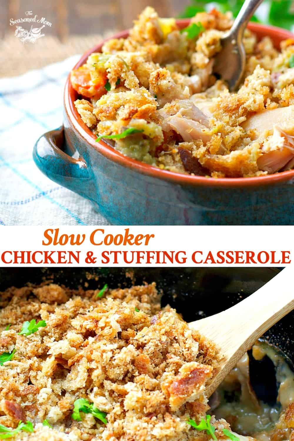 Slow Cooker Chicken and Stuffing Casserole #crockpotmeals