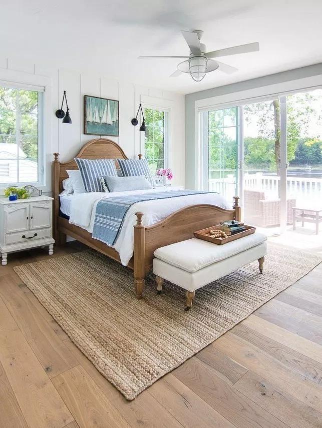 85 White and Blue Lake House Master Bedroom Ideas   texasls.org #masterbedroom #masterbedroomideas #masterbedroomsdecor #coastalbedrooms