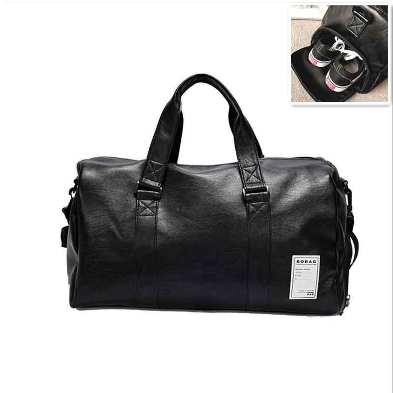 4501a0383480 New Large Men PU Leather Sport Gym Bag for Women Fitness Training Travel  Duffle Shoulder Bags Handbag Outdoor sac de sport