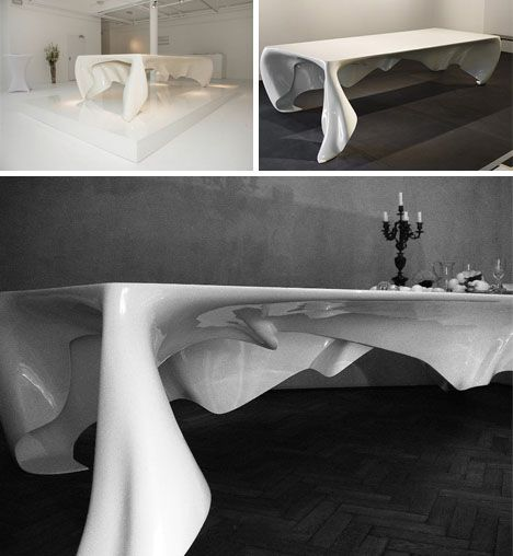 Floating White Ghost Table By Graft Architects