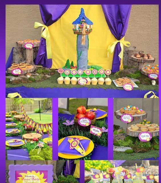 PRINCESS PARTY- Princess Birthday- Tower- Purple Princess Printables - COMPLETE