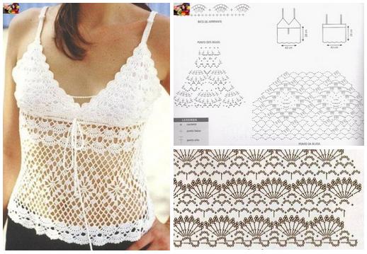 Patrones para tejer una blusa de tirantes a crochet para el verano ...