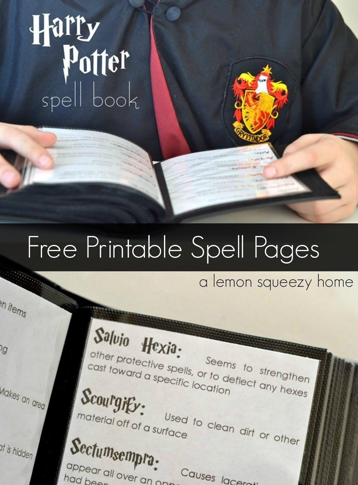 Harry Potter Spell Book Printable Spells