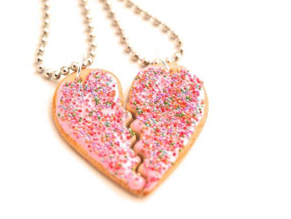 grande variété de styles dernières tendances de 2019 comment avoir Pink Sugar Cookie Best Friend Necklaces, BFF Friendship ...