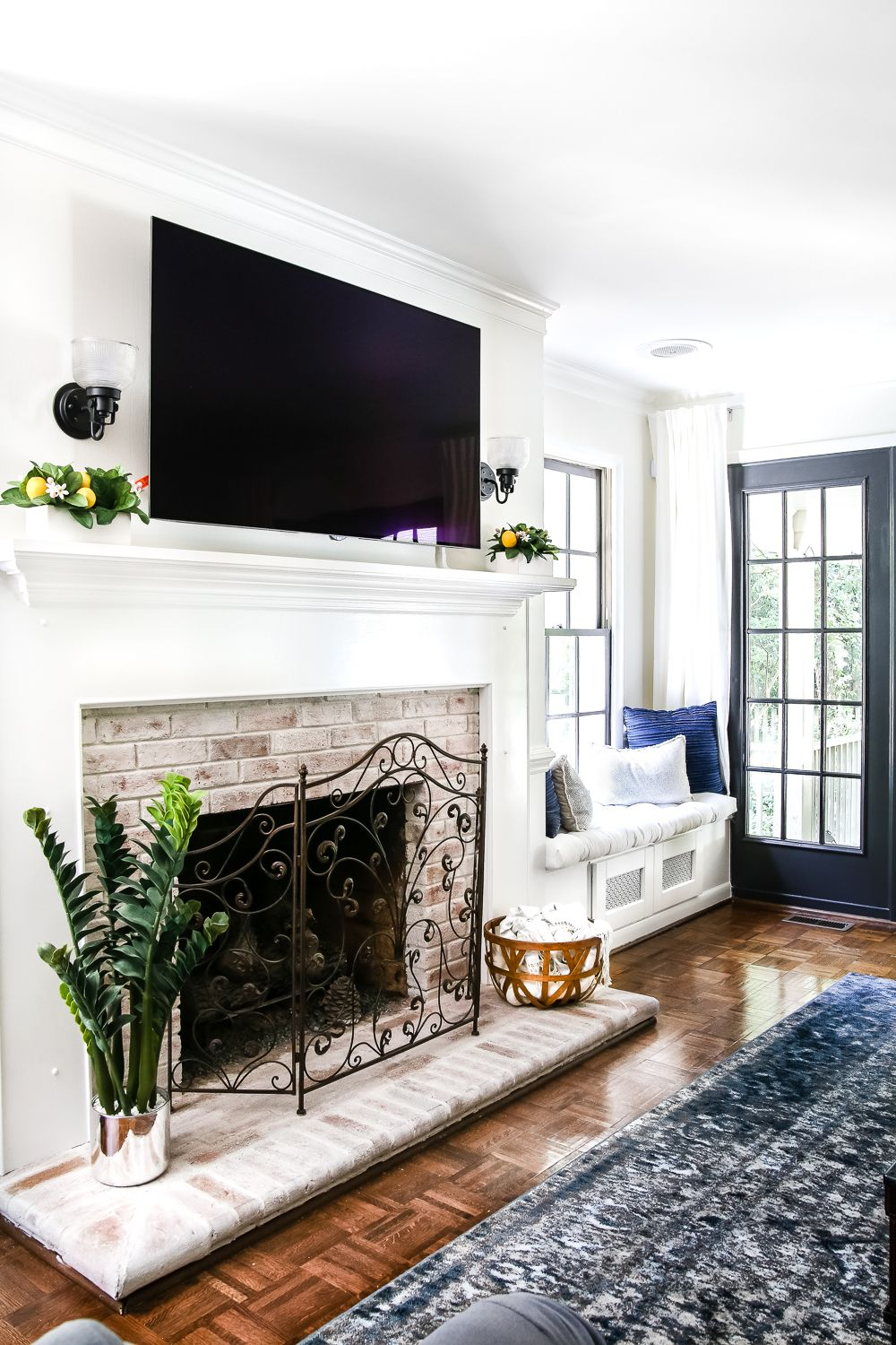 DIY Lime Washed Brick Fireplace - Bless'er House