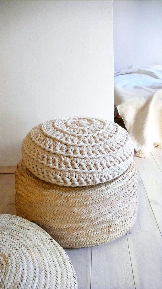 pouf tricot et osier home inspiration pinterest. Black Bedroom Furniture Sets. Home Design Ideas