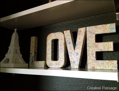 "Paris ""LOVE"" letters. Could do this with any word/letter with a map of any city! #maps #art #diy"