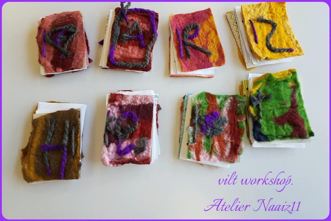 viltworkshop Atelier Naaiz11 Boekjes met vilten kaft gemaakt door de leerligen van groep 4,5 en 6.