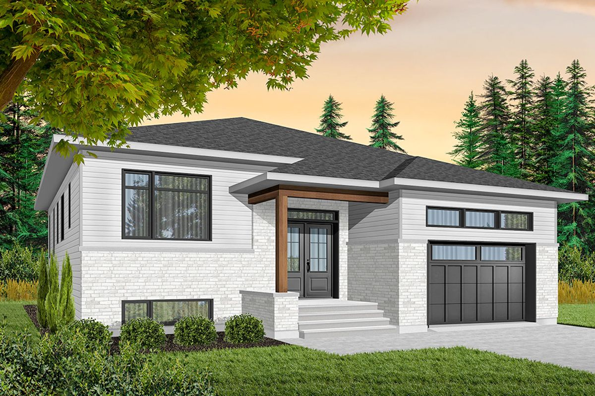 Plan 22425DR Contemporary Split Level House Plan in 2019