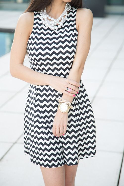 classy in chevron and pearls