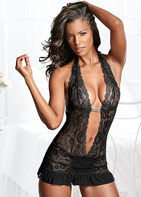 669fad94108 BLACK Deep V Sheer Lace Negligee from VENUS