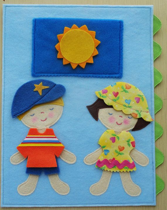 adorable felt dolls with felt and fabric clothes for 4 seasons
