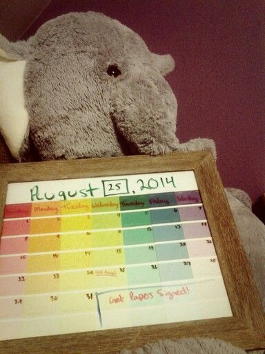 Made a calendar from paint swatches! Easy peasy for class schedules and work! :)