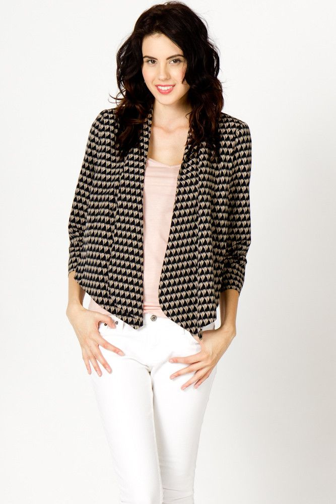 abstract triangle print blazer