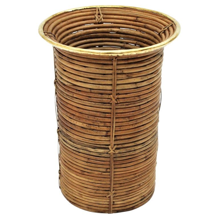 Rattan And Bamboo Round Umbrella Stand With Brass Rim Italy 1970s In 2020 Bamboo Water Fountain Umbrella Stand Rattan