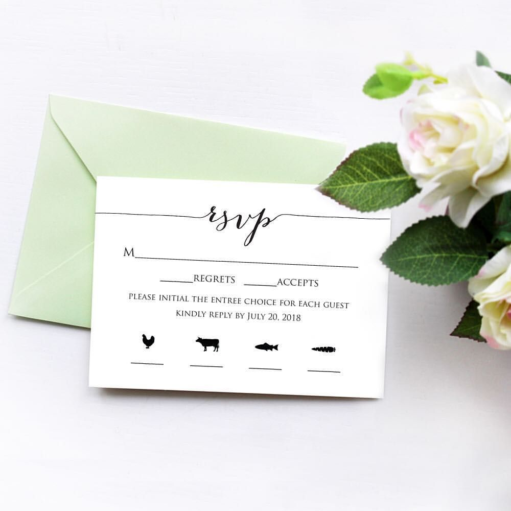 free templates for wedding response cards%0A TIP  Use meal icons to add visual interest to your rsvp cards  It u    s easy