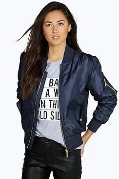compra original hermosa en color a un precio razonable Chaqueta bomber de mujer color azul marino de Boohoo ...