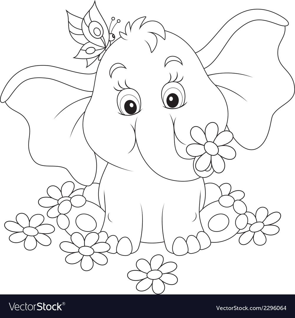 Baby Elephant Sitting Among White Daisies Download A Free Preview Or High Quality Adobe Illustra Elephant Coloring Page Elephant Drawing Art Drawings For Kids