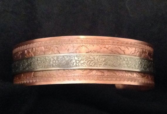 7.5 inch Copper ans silver cuff bracelet by Figmentjewelrydesign
