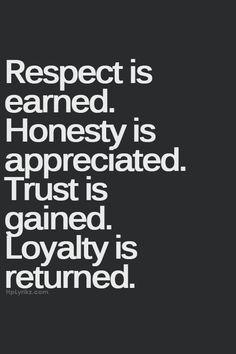 Respect Honesty Trust Loyalty