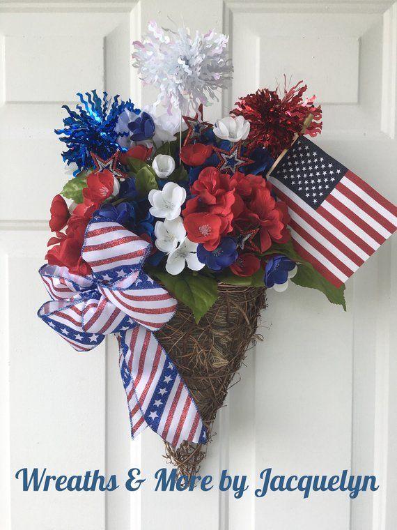 Patriotic Door Hanger Patriotic Decor Patriotic Wreath