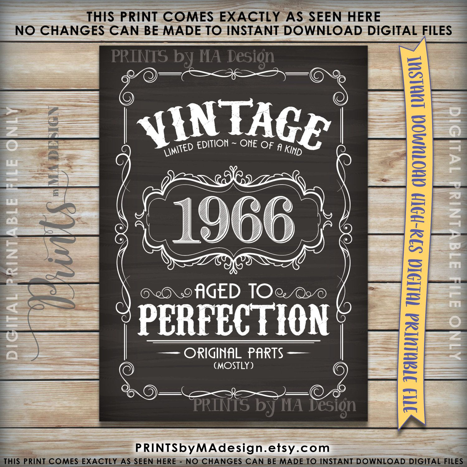 1966 Time Capsule 50th Birthday Gift For Men Or Women: Aged To Perfection 1966 Chalkboard Sign, Vintage 1966 50th