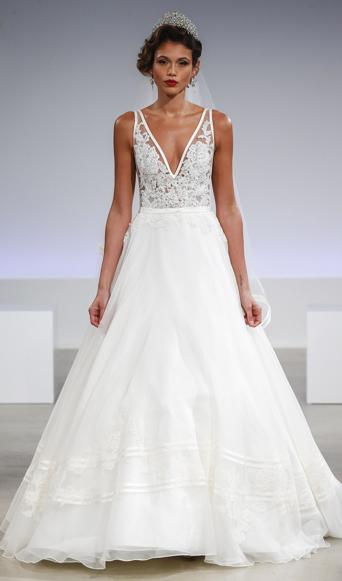 Simple aline wedding dress on kleinfeld bridal detailed plunging