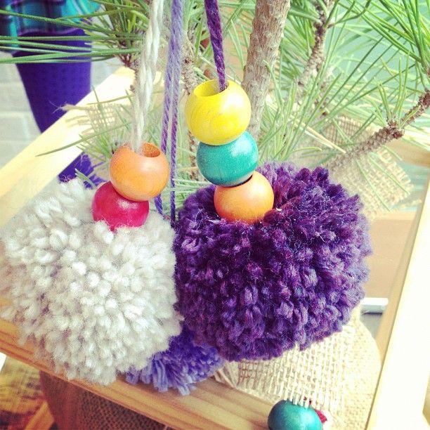 Pom pom ornaments! #splendidholiday