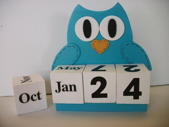 Owl Calendar Perpetual Wood Block Turquoise Decor