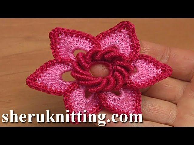 Here crochet 3D 6-petal flower, gorgeous flower to crochet, Irish ...