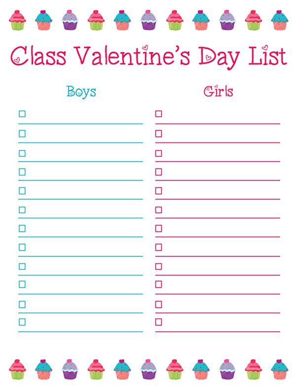 TeacherS Note Free ValentineS Day Class List Printable And