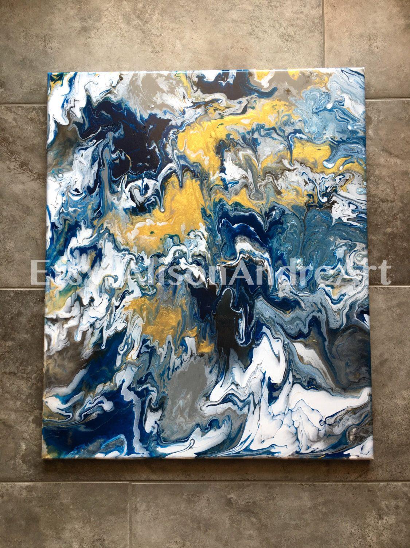 Abstract acrylic painting 24 x 20 canvas wall art navy