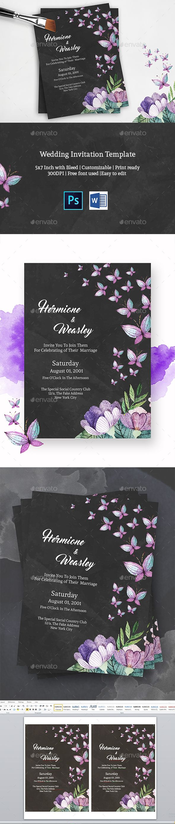 free wedding invitation psd%0A Wedding Invitation by quazisadiya Features Photoshop and Word file    with  bleed Editable Free Fonts Used High resolution  CMYK Print Ready format