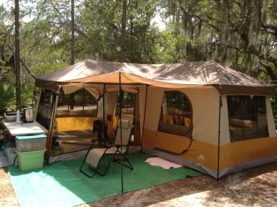 Do You Have A Large Family Camping With You? This Ozark Trail X Cabin Dome  Tent, Sleeps 12  The Outdoor Rug Makes A Big Difference, And Gives A More  Comfy ...