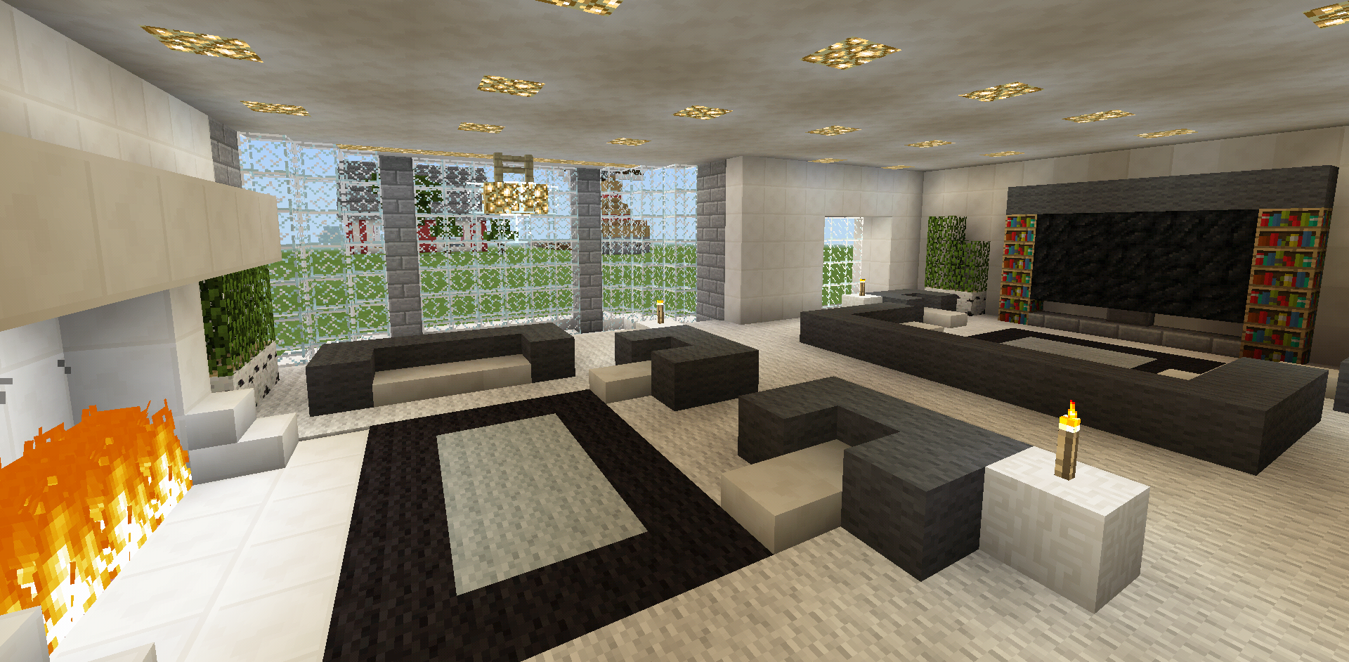 minecraft family living room and fireplace couch chair tv On a living room in minecraft