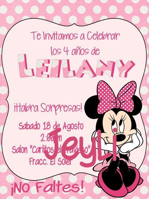 Formato De Invitacion De Minnie Mouse Bebe Buscar Con