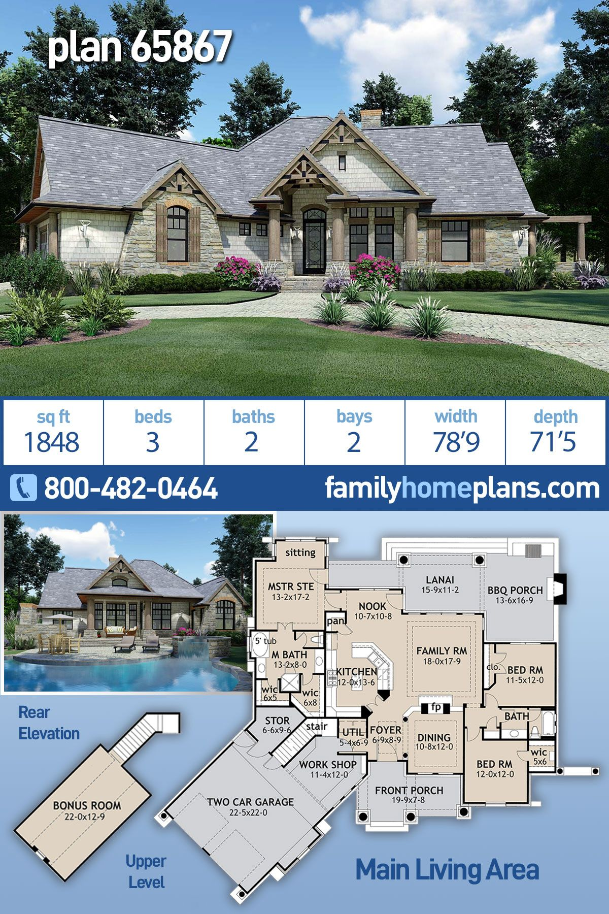 Tuscan Style House Plan 65867 With 3 Bed 2 Bath 2 Car Garage Tuscan House Plans House Plans Tuscan House