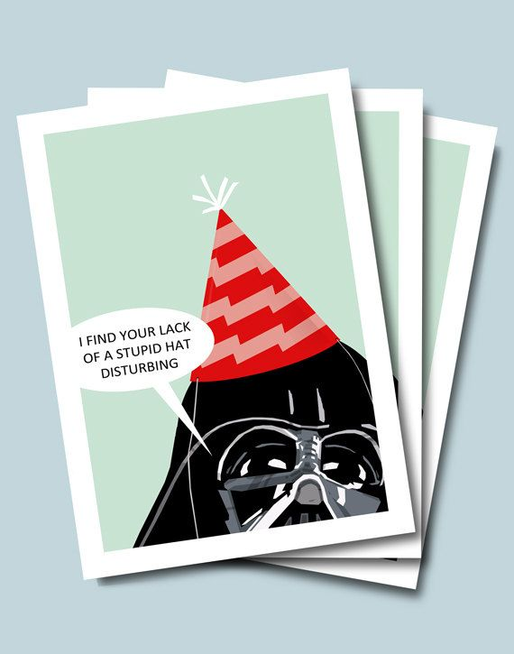 Birthday Card Star Wars Darth Vader Birthday By Bigbadrobot 4 00 Cards Card Making Inspiration Star Wars Birthday