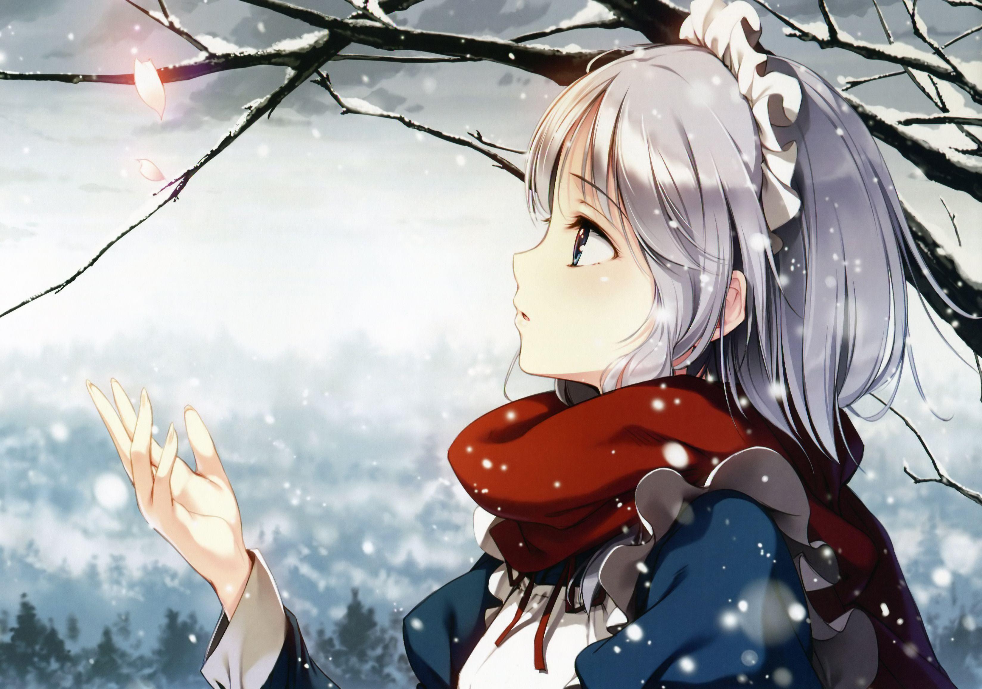 Anime Snow Winter Girl Anime Snow Anime Wallpaper Art