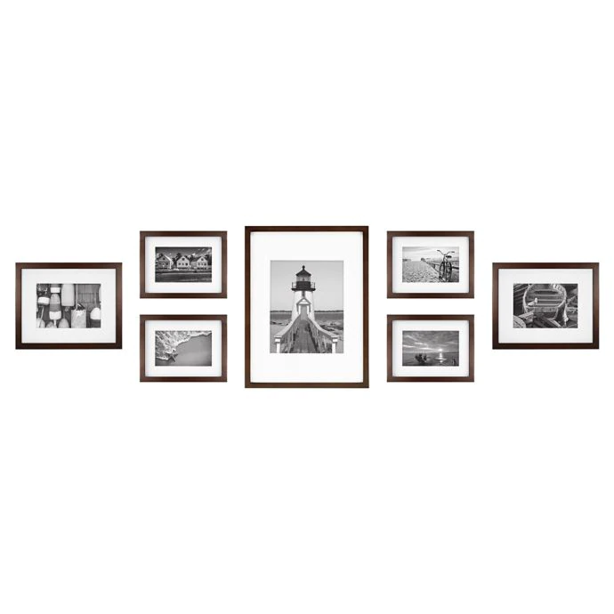 7 Piece Gallery Wood Picture Frame Set In Walnut Bed Bath