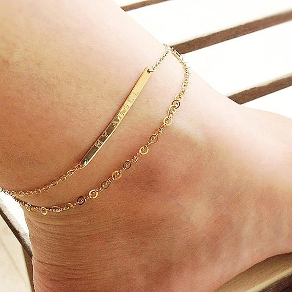 you name chains anklet dainty three silver women bracelet gift gold love birthday custom item i